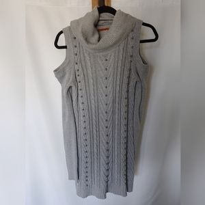 Belldini Cold Shoulder Cable Knit Sweater Dress